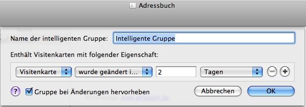 Intelligente Gruppe: neue Einträge im Adressbuch