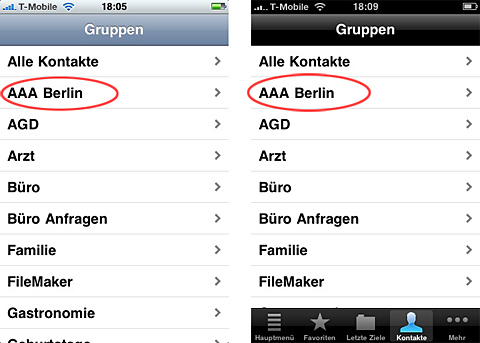 iPhone Adressauswahl